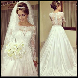 Wholesale New Arrival Top Wedding Gowns - Vintage Lace Top Scoop Neck Stylish Wedding Dresses A Line Garden Ivory Satin Skirt Bridal Wedding Gowns With Long Sleeve 2015 New Arrival