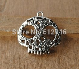 Wholesale Sugar Skull Charms - Free Shipping! 20pc 27x27mm Antique Silver Filigree Sugar Skull Face Charm Pendant A588
