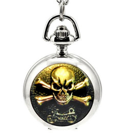 Wholesale Skull Watch Necklace - Hot sales Unique design skull motorcycle pattern enamel children students Cartoon pendant Necklace chain pocket watch