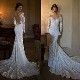 Wholesale sexy fitted wedding gowns - Sexy Berta 2015 Mermaid Wedding Dresses Off Shoulder Long Sleeves Bridal Gowns Fitted Lace Court Train Backless Garden Wedding Party Gowns
