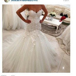 Wholesale Sweetheart Neckline Tulle Wedding Dress - 2016 Mermaid Lace Wedding Dresses Sweetheart Neckline Lace Appliques Tulle Backless Draped Lace Bridal Dresses Wedding Party Custom Made
