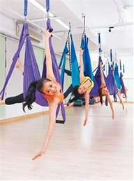 Wholesale Resistance Bands White - high quality anti-gravity yoga air hammock Pink and Green Large Bearing Yoga Swing Sling Hammock Trapeze For Yoga Inversion Tool