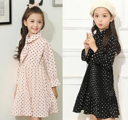 Wholesale Kids Wholesale Maxi Dress - Girls Chiffon Dresses 2018 New Children Polka Dots Pleated Dress Kids Bows Tie Long sleeve Dress Spring Big Girls Maxi Dress 4-15T A00136