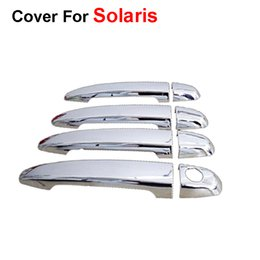 Wholesale Car Exterior Decoration Accessories - Car - Styling Door Handle Cover Stickers ABS For Hyundai Solaris Verna 2015 2014 Auto Accessories Exterior Decoration