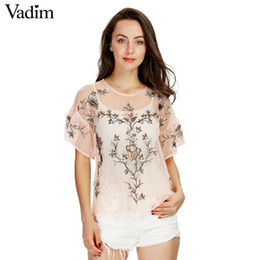 Wholesale Short Sleeve See Through Blouse - Wholesale- Women sexy flower embroidery ruffles mesh shirts see through transparent short sleeve blouse ladies casual tops blusas DT992
