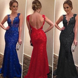Wholesale Modern Cotton Dresses - 2015 Hot Selling Fashion Evening party Dresses For Women Lace V Neck Backless Sexy Bride Dresses Long Evening Party Dress