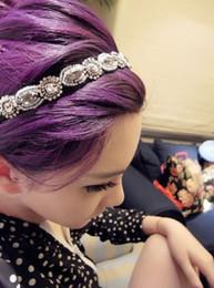 Styles de cheveux gris en Ligne-Mode Rétro Style Femmes Cheveux Cristal Strass Gris Perles Bandeau Bande de Cheveux Coiffure Bijoux de Cheveux MD