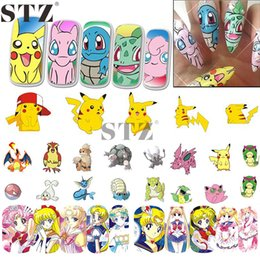 Wholesale Tattoos Images - Wholesale- Nail Sticker Water Transfer Decal Cartoon Design Yellow Cute Image Girl Beauty Nail Art Care Sticker Tattoos Manicure STZ392-404