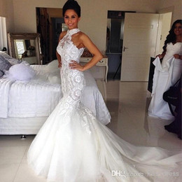 Wholesale Mermaid Sweep Train - Elegant Halted Neckline Mermaid Wedding Dress Lace Appliqued Beaded Sequins Fitted Backless Tulle Fish Trail Sweep Train Bridal Gowns BO8263