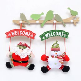 Wholesale Wooden Christmas Ornaments Wholesale - Christmas decorations foreign trade creative doll door hanging Christmas fabric plate elderly pendant Christmas ornaments free shipping