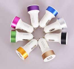 Wholesale S4 Mini Portable Charger - Mini USB Dual Car Charger For Iphone 5 6 Plus Samsung Galaxy S4 S5 Excellent Process Portable Colorful Adapter