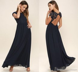 Wholesale Beach Portrait - 2018 Western Country Style Dark Navy Chiffon Bridesmaid Dresses Long Backless Short Sleeves Lace Top Beach Wedding Party Dresses Cheap