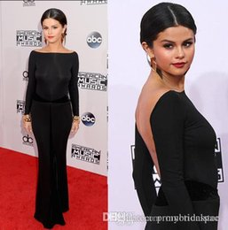 Wholesale Celebrity Slim Prom Dresses - Selena Gomez Lone Balck Evening Gowns With Long Sleeve Bateau Backless Floor Length Slim Fit Wedding Party Prom Dresses 2016 Celebrity