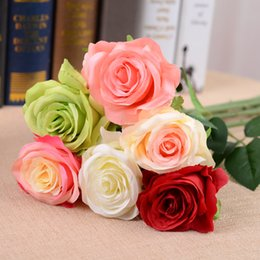 Wholesale Bridal White Flower Bouquet Holding - 10 pcs Lot t Beauty Bridal Bouquet Artifical Sile Pink white red Rose Flower Bridesmaid Hand Holding Flower Party Wedding Decoration Posy LH