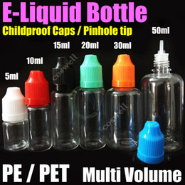 Wholesale E Liquid Filled Bottles - e liquid Empty Needle Bottles PE PET childproof caps pinhole tip multi volume Plastic Needle Dropper Electronic Cigarettes atomizer oil fill
