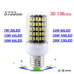 Wholesale B22 Led 35w - 7W 30led 12W 42led 18W 64led 22W 80led 25W 108led 35W 136led Led Bulb E27 E14 GU10 G9 Led Lights Ultra Bright SMD 5733 Led Corn Bulb Light