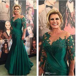Más el tamaño de la madre de los vestidos de novia Vestido De Madrinha 2019 Nueva verde satinado sirena vestido de noche de manga larga vestidos de baile 173 desde fabricantes