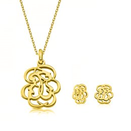 Wholesale Girl Earrings - New style Hot selling fashion spanish 18k gold hollow flower pendant bears jewelry set Mujer pendientes oso earring and necklace set