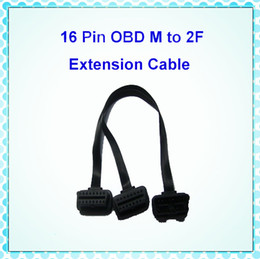 Wholesale Obd 16 Pin Connector - OBDII OBD2 OBD-II M to 2F Y Cables OBD 2 16 Pin Extension Male to Dual Female Splitter Extension Connector Cable