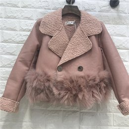 Wholesale Lamb Leather Coats Women - wholesale  Faux Fur Coat Real Faux Leather Fox Full 2017 New Woman Jacket Pu Lamb Hair Stitch Double-breasted Women
