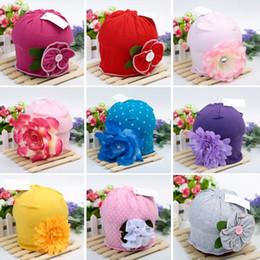 Wholesale Beautiful Crochet - Hot Cute Baby Beanie Hats For Girls Beautiful Charming Flower Soft Cotton Baby Hats Girls Spring Autumn Hats Children's Cap