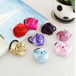 Wholesale Rose Hair Tie - 2015 HOT ON SALE NEW FASHION FLOWER HAIR TIE ROSE FLOWER HAIR BAND FOR WOMEN FREE SHIPPING