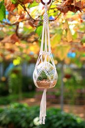 Wholesale Cotton Hangers - 2017 Decorative Wall Plant Hanger Flowerpot Holder Hand Knitted Hanging Basket Cotton Rope with Macrame Figure of Pineapple
