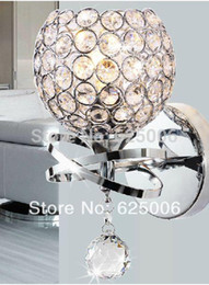 Wholesale Stair Crystal Lamp - Modern style Wall Lamp bedside lamp Bedroom Stair lamp Crystal wall Lights E14 Led single gold silver Color indoor lighting