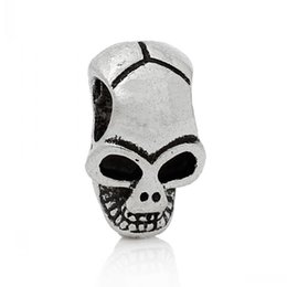 Wholesale 12mm Beads - Jewelry Findings Spacer Beads Skull Halloween Antique Silver About 12mm x 8mm,Hole:Approx 3.6mm,100PCs