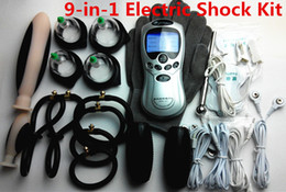 Wholesale Gloves Anal - 9-in-1 BDSM Electric Shock Therapy Kit Bondage Gear Nipple Clips Penis Anal Vaginal Plug Gloves Cock Penis Ring Cupping Sex Toys