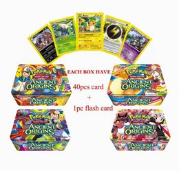Wholesale Tin Card Boxes - Poke Trading Cards XY Series Collectors Tin English Edition Anime Pocket Monsters Cards Toys Metal Boxes Packing 41pcs lot