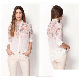 Nova Moda Floral Imprimir Chiffon Blusa Camisas Casual Elegante Gracioso Design Da Marca Tops para As Mulheres de