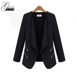 Wholesale ladies cotton office wears - Women Spring Autumn Fashion Blazers Jackets Women Slim Long Sleeve Solid Coats Female Casual Suit Office Lady Blazers Work Wear