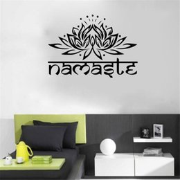 Wholesale Decorative Wall Wording - IDFIAF India Namaste Word Religion Wall Stickers Decal Vinyl Lotus Yoga Buddha Ganesha Bedroom Home Decorative Flower Mural
