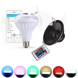 Wholesale Iphone Led Bulb - LED Music Bulb Wireless Bluetooth Speaker Bulb Remote Controller Music RGB Color Warm Lights Lamp With Music Playing For Iphone Andorid Hot
