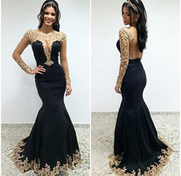 Wholesale Girls Gray T Shirts - 2017 Girls Pageant Dresses Sexy Mermaid Black and Gold Evening Dresses Long Sleeves Scoop Mesh Back Beaded Lace Appliques Dresses Prom Cheap