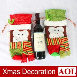 Wholesale Patterned Table Cloth - New Christmas Monkey pattern Red Wine Bottle Cover Bags Table Dinner Decorations New Year Party Decoration Gifts Ornaments