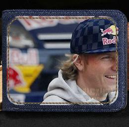 Wholesale Race Photo - Kimi Matias Raikkonen wallet Iceman purse Automobile race sport short cash note case Money notecase Leather burse bag Card holders