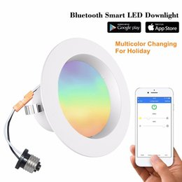 Wholesale Smart Ceiling Lighting - iLintek 4inch Bluetooth Mesh Smart LED Downlight, 9W (60W Eq.) Multicolor Changing 810lm Ceiling Light, Dimmable APP Controlled Retrofit Rec