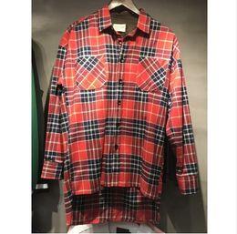 Wholesale Check S - FOG FEAR FOG HIP RED BULE hop plain shirts fashion street wear sleeveness shirts man hot selling oversize zipper checked 2018