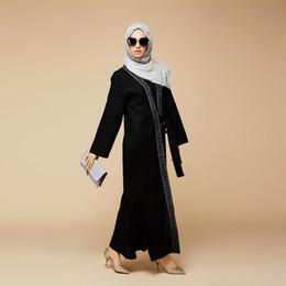 Wholesale Wholesale Islamic Dresses - Embroidered formal maxi abaya dresses chic black maxi abaya dress muslim evening dresses Islamic Clothing Kabayare Fashion