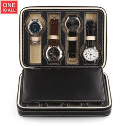 Wholesale Milk Tray - Wholesale- 8 Grids Watch Leather Box Storage Showing Watches Display Storage Box Case Tray Zippered Travel Watch Collector Case