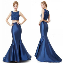 Wholesale Satin Fabric Mermaid Prom Dress - Navy Two Pieces Evening Dresses 2016 Jewel Lace Top Mermaid Satin Fabric Special Party Dress Sleeveless Zipper Back Hot Sweep Train Prom