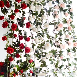 Wholesale Artificial Pink Rose Flower Garlands - 3 Colors Artificial Plants Green Leaves Simulation Cane Adornment Flowers Garland Home Wall Party For Decorations Rose Vines