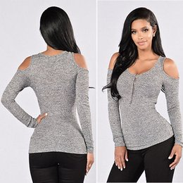 Wholesale Womens Off Shoulder Sweaters - Wholesale- Fashion New Womens Sexy Off Shoulder Long Sleeve Zipper Stripe Slim Sweater tops