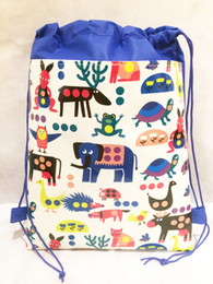 Wholesale Characters Bags 12pcs - 12pcs  Lot Children 'S Backpack Tote Toddler Kiids Drawstring Waterproof Non -Woven Cartoon School Bag For Girls Boys Birthday Gifts