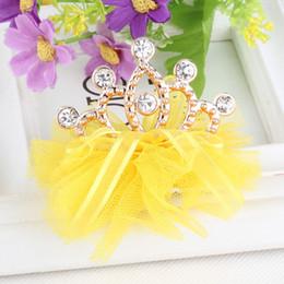 Wholesale Children Headband Design Ribbon - New Design Shiny Rhinestone Crown Hair Clip Girls Hair Accessories Grid Yarn Crown Children Accessories Ribbon Baby Hairpins