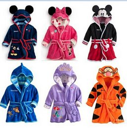 Wholesale Kids Bathrobe Hooded Wholesale - 30pcs Cartoon Minnie Mickey Mouse bathrobe Coral fleece Kids Tiger robes The Little Mermaid toweling robe Boy Girl bath wear D008
