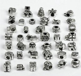 Wholesale European Bracelet Mixed Stoppers - OMH wholesale Lot of 30 Mixed Tibet Silver Plated Charms Beads Spacer Stopper Fit European Bracelet necklace DIY BEADS ZL203
