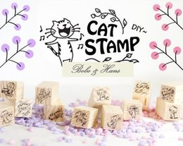 Wholesale New Wooden Cat Stamp - Wholesale-New 12 pcs set Creative New cute Cat design wooden stamp   Decorative DIY funny work Wholesale